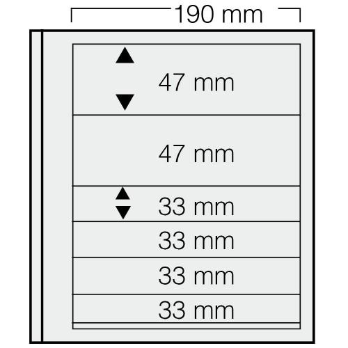 """Feuilles """"Spécial Dual""""- 6 Bandes - 2x47mm,4x33mm - Paquet de 5"""
