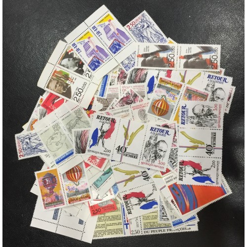 Lot de faciale 100 timbres à 5 Francs (2X2.50F)