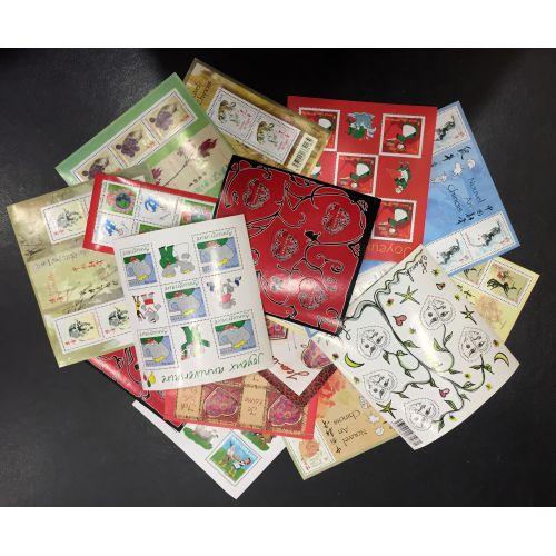 Lot de faciale 100 timbres TVP Rouge - En Blocs