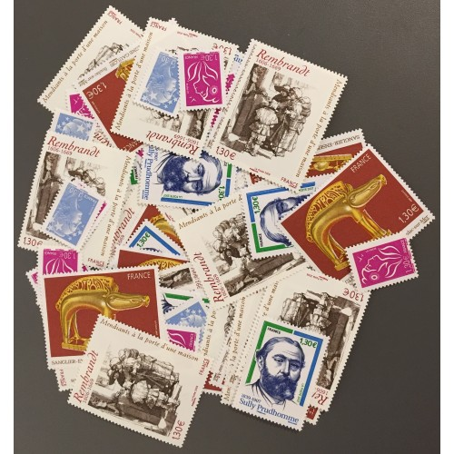 Lot de faciale 92 timbres à 1,30€ pour Affranchissement