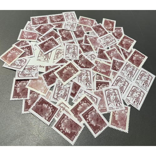 Lot de faciale 50 timbres TVP rouge 250g